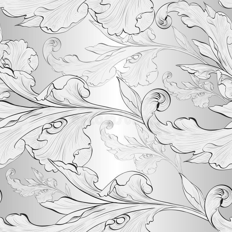Vetor Fundo sem emenda Um ramo é um elemento da planta wallpaper Composição decorativa Use materiais impressos, sinais, cartazes ilustração stock