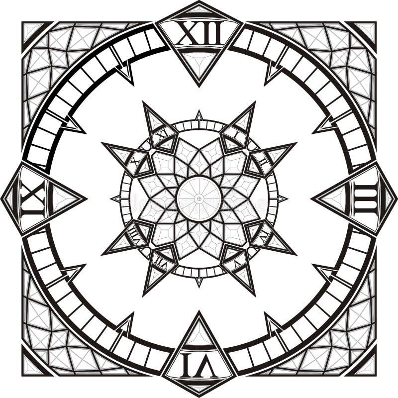 Vetor gótico do compasso do tatuagem do relógio de pulso de disparo ilustração do vetor