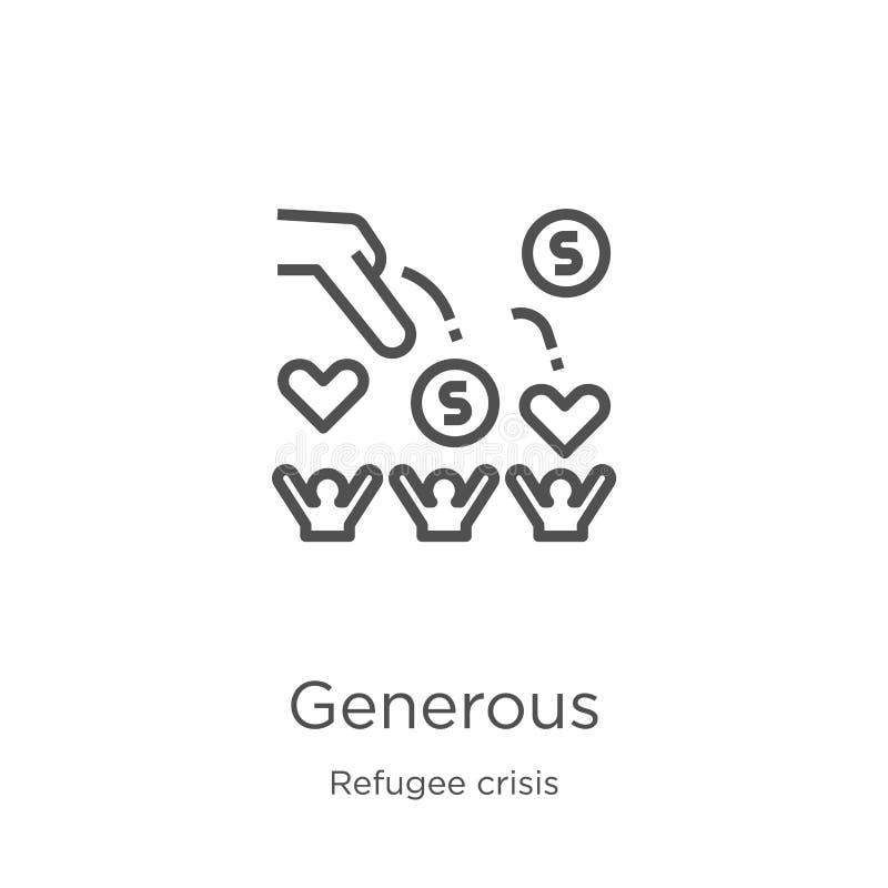 vetor generoso do ícone da coleção da crise do refugiado Linha fina ilustração generosa do vetor do ícone do esboço Esboço, linha ilustração royalty free
