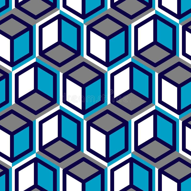 Vetor geométrico do cubo abstrato sem emenda, teste padrão fresco imagem de stock