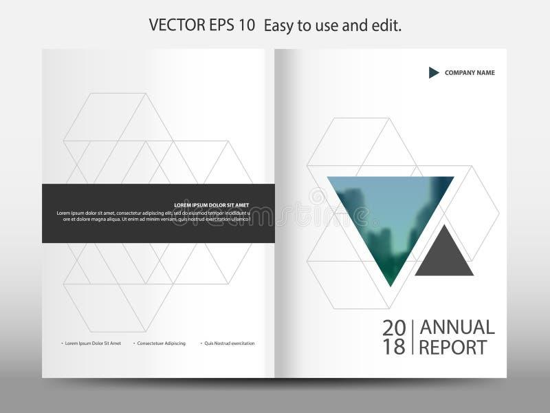 Vetor geométrico do molde do projeto do folheto do informe anual do triângulo azul Cartaz infographic do compartimento dos inseto ilustração do vetor