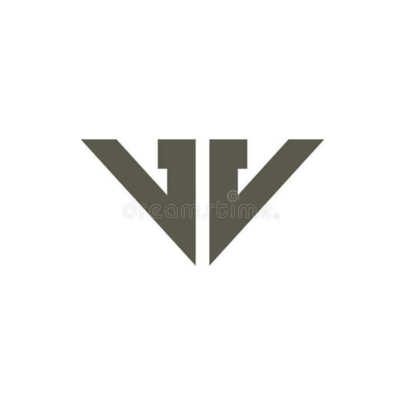 Vetor geométrico simples do logotipo da VW da letra abstrata ilustração stock