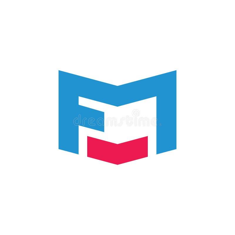 Vetor geom?trico simples do logotipo do fm abstrato das letras ilustração do vetor