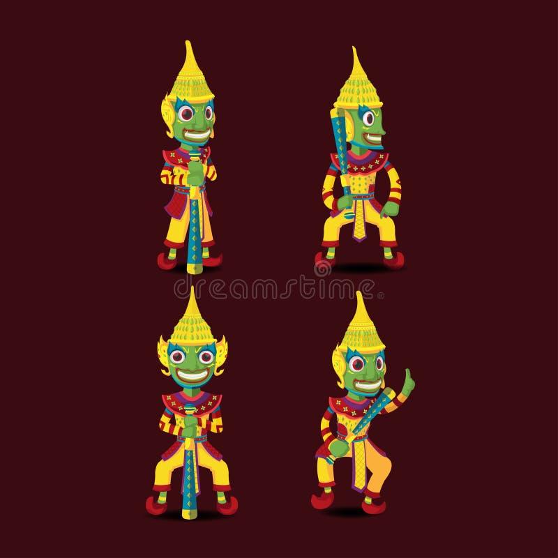 Vetor gigante da mascote do caráter do guardião tailandês ilustração do vetor