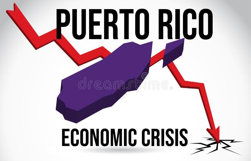 Vetor global da fus?o do impacto do mercado do colapso de Puerto Rico Map Financial Crisis Economic ilustração do vetor