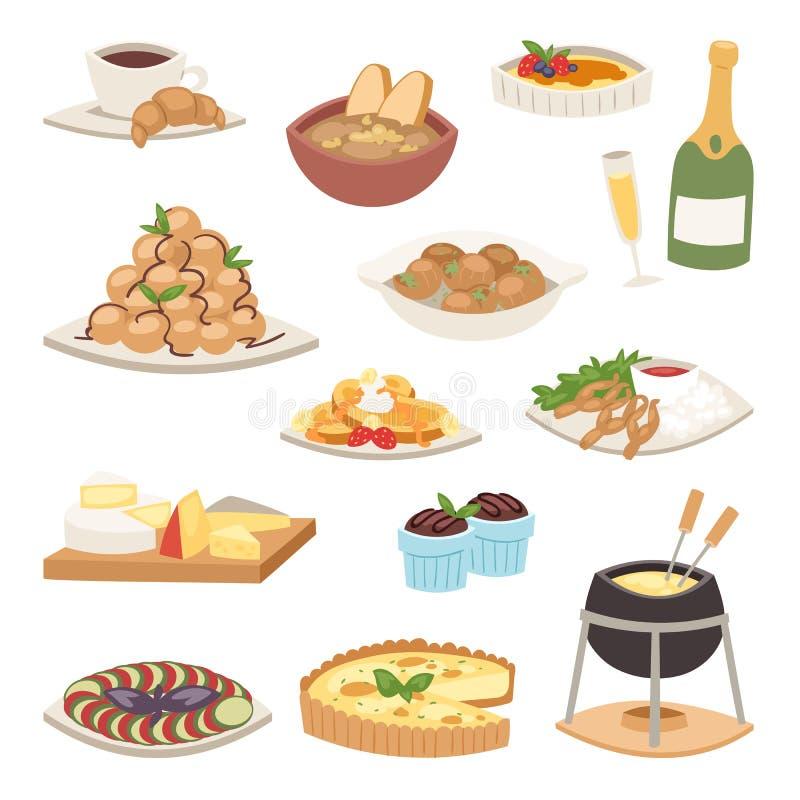 Vetor gourmet do prato da placa do francês continental saudável delicioso tradicional francês do almoço do jantar da refeição do  ilustração royalty free
