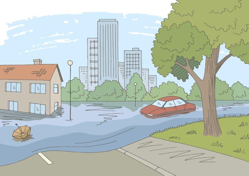 Vetor gráfico da ilustração do esboço da cidade da paisagem da cor da inundação ilustração stock