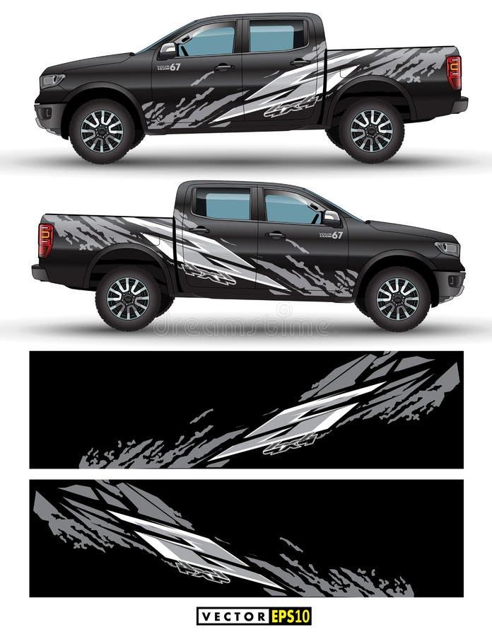 vetor gráfico do caminhão e do carro da movimentação de 4 rodas Linhas do sumário do teste padrão do respingo com projeto preto d ilustração do vetor
