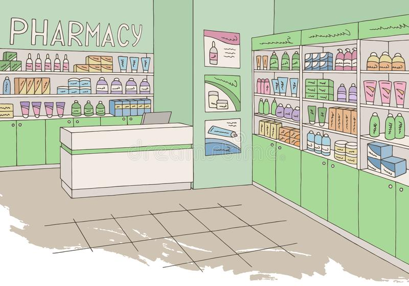 Vetor gráfico interior da ilustração do esboço da cor da loja da loja da farmácia ilustração royalty free