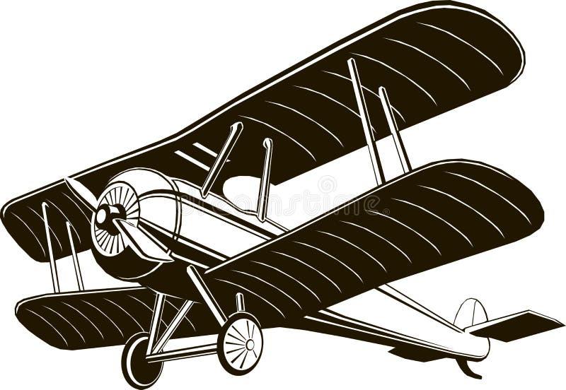 Vetor gráfico preto monocromático do clipart do avião retro do biplano ilustração stock