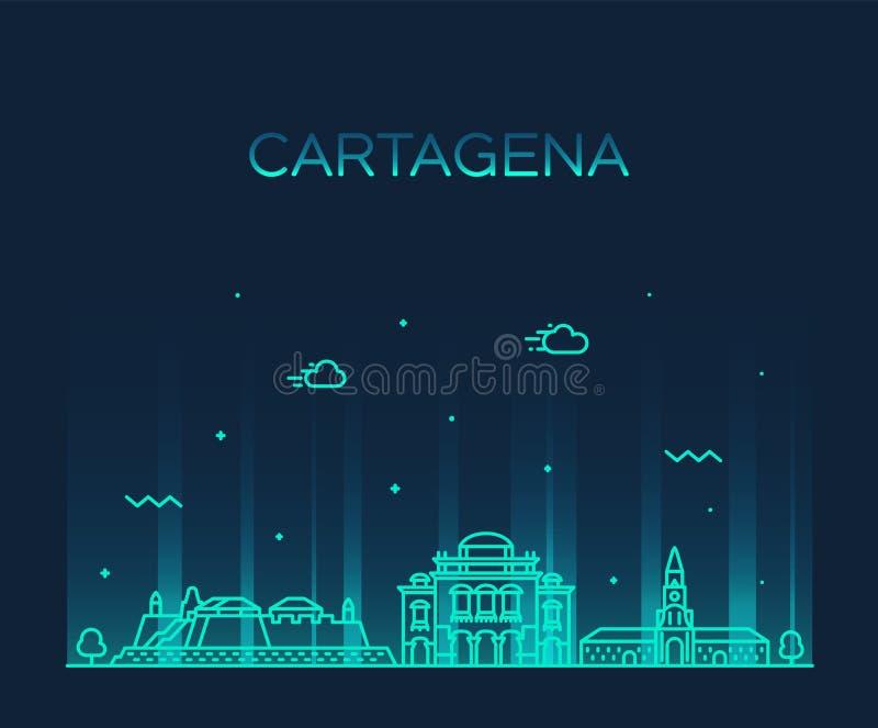 Vetor grande da cidade de Colômbia da skyline de Cartagena linear ilustração royalty free