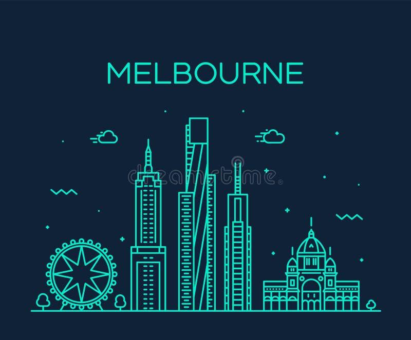 Vetor grande de Austrália da skyline da cidade de Melbourne linear ilustração stock