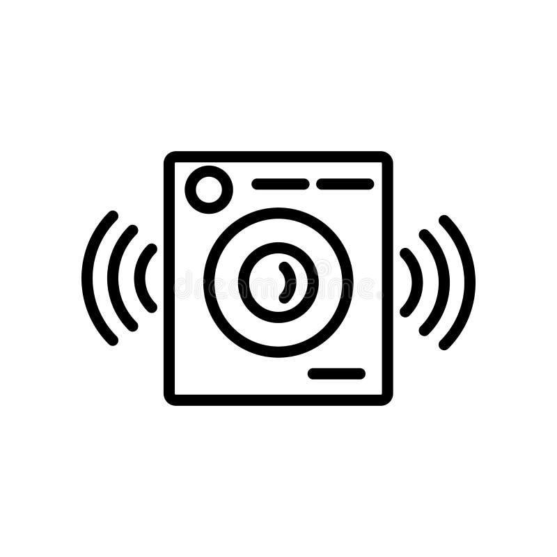 Vetor grande do ícone do orador do jogador de música isolado no backgroun branco ilustração stock