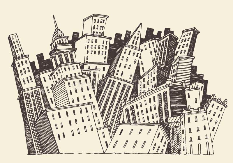 Vetor gravado do conceito da cidade arquitetura grande ilustração royalty free
