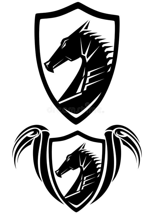 Vetor heráldico do protetor da cabeça preta do dragão ilustração do vetor