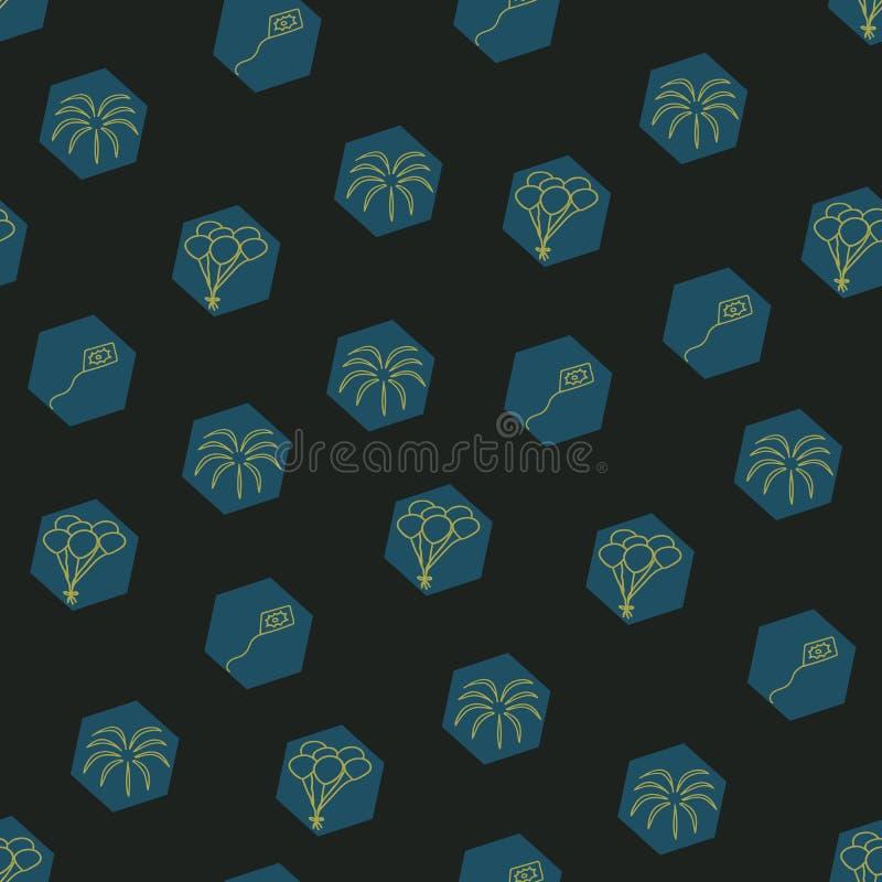 Vetor hexágonos pretos Elementos festivos padrão de repetição ilustração do vetor