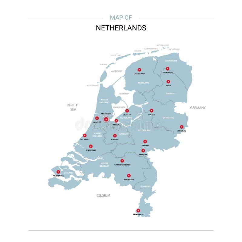 Vetor holandês do mapa com pino vermelho ilustração do vetor
