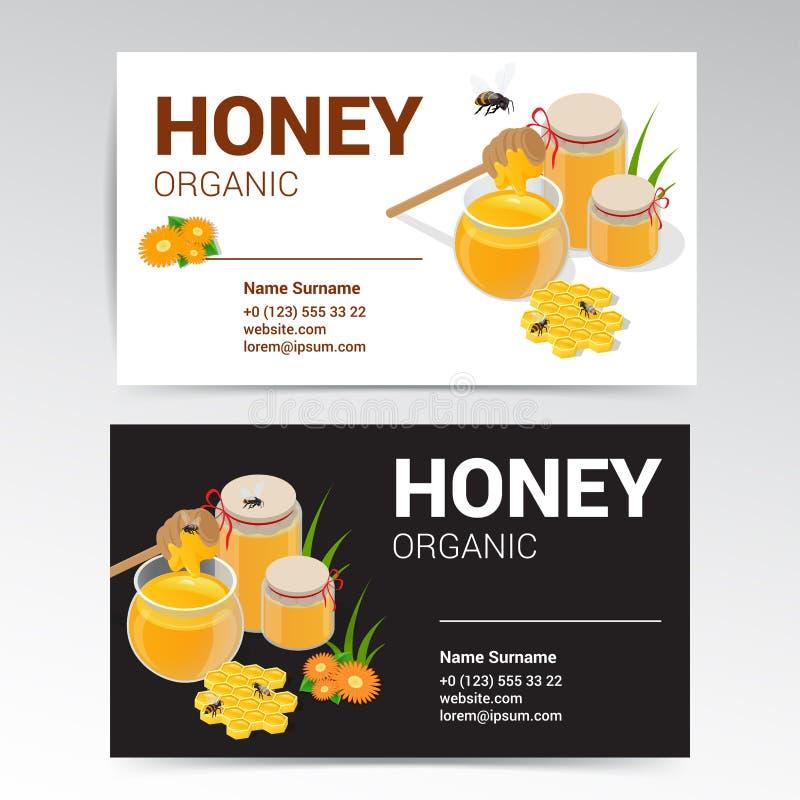 Vetor Honey Business Card Template White orgânico e projeto preto ilustração do vetor