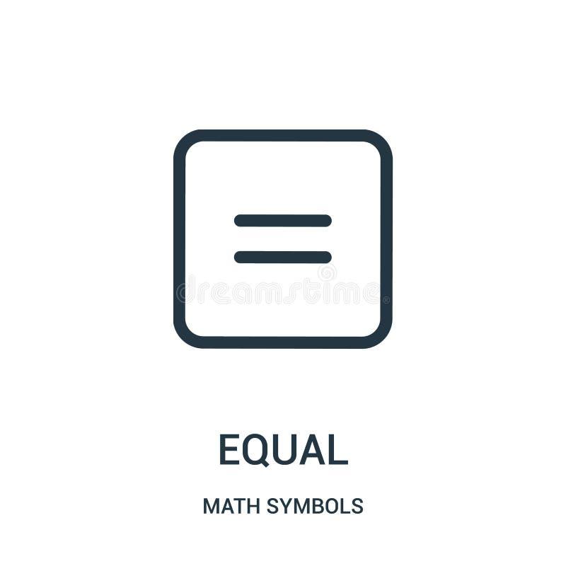 vetor igual do ícone da coleção dos símbolos da matemática Linha fina ilustração do vetor do ícone do esboço do igual ilustração stock