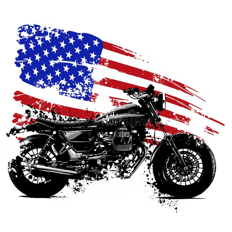 Vetor illustration American chopper motorcycle with american flag. Hand drawn and inked vintage American chopper motorcycle stock illustration