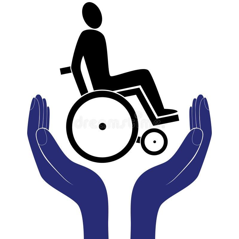 Vetor incapacitado do sinal do cuidado ilustração royalty free