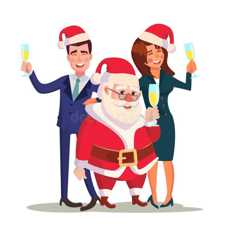 Vetor incorporado da festa de Natal Homem, mulher e Santa Claus Fim do ano no restaurante ou no escritório Ano novo de relaxament ilustração royalty free