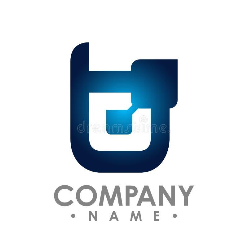 Vetor incorporado do projeto do logotipo da letra b do negócio Letra colorida ilustração stock