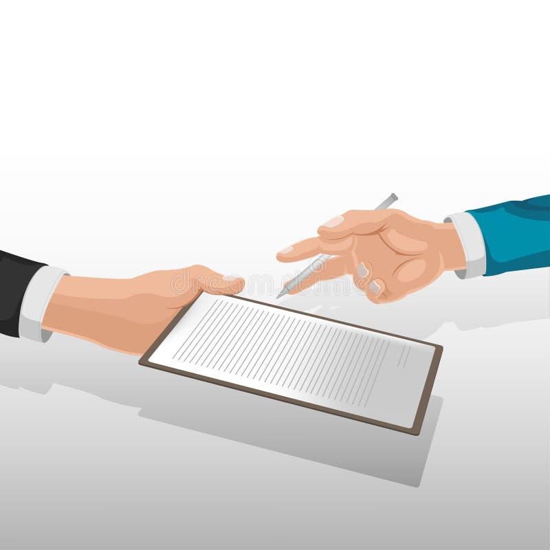 Vetor incorporado do sinal do conceito da mão do negócio imagem de stock