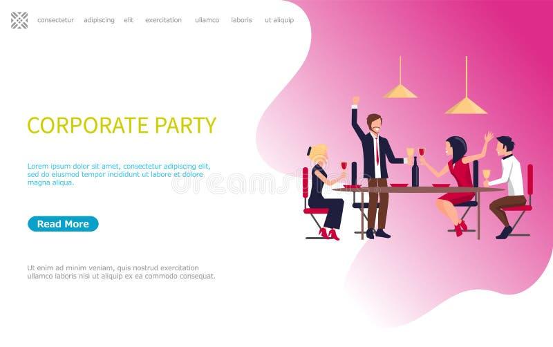 Vetor incorporado dos empregados do negócio da reunião do partido ilustração royalty free