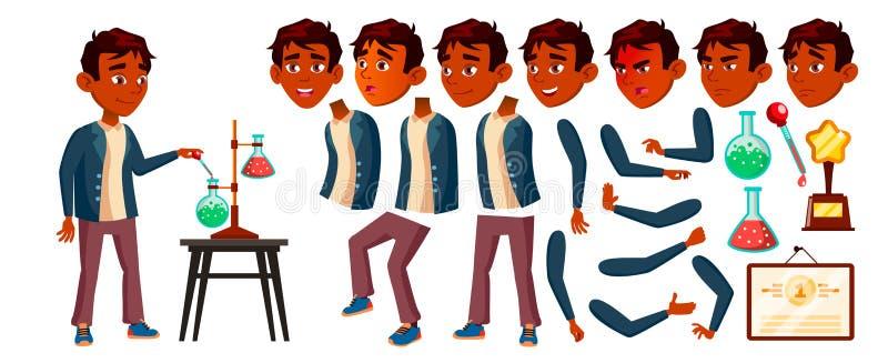 Vetor indiano da criança da estudante do menino Aluno alto Grupo da criação da animação Emoções da cara, gestos Aluno da criança  ilustração stock
