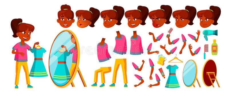 Vetor indiano da criança da menina Aluno alto Grupo da criação da animação Emoções da cara, gestos pupila Universidade, graduado ilustração royalty free