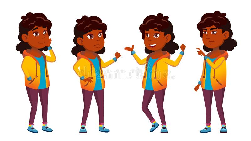 Vetor indiano do grupo da criança da escola da menina Criança de escola primária Estudante da escola cheer hindu Asiático Para a  ilustração stock