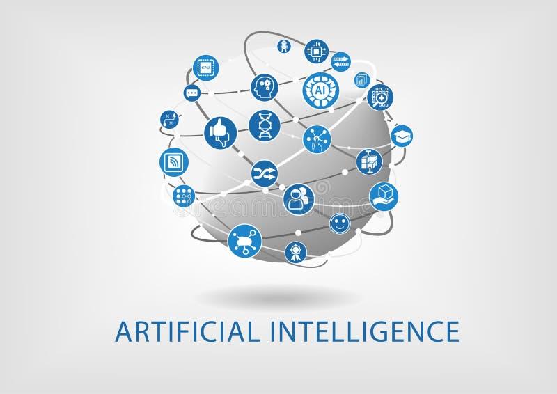 Vetor infographic do conceito da inteligência artificial