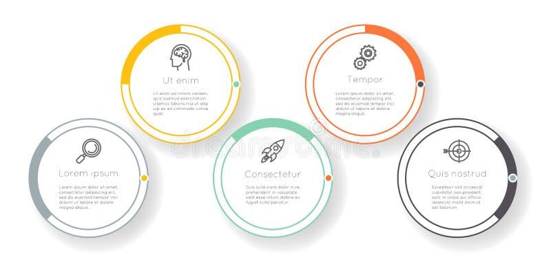 Vetor infographic do gráfico da informação da disposição dos trabalhos dos ícones das etapas das opções da etiqueta do diagrama d ilustração royalty free