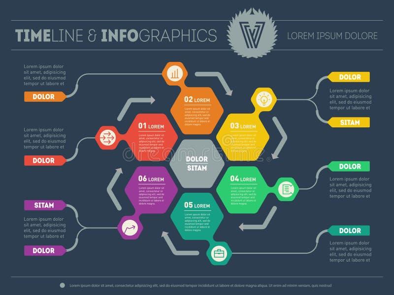 Vetor infographic do processo da tecnologia ou da educação ilustração stock