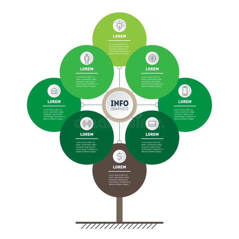 Vetor infographic do processo da tecnologia ou da educação com 8 opções Molde da Web da árvore, da carta da informação ou do diag ilustração stock