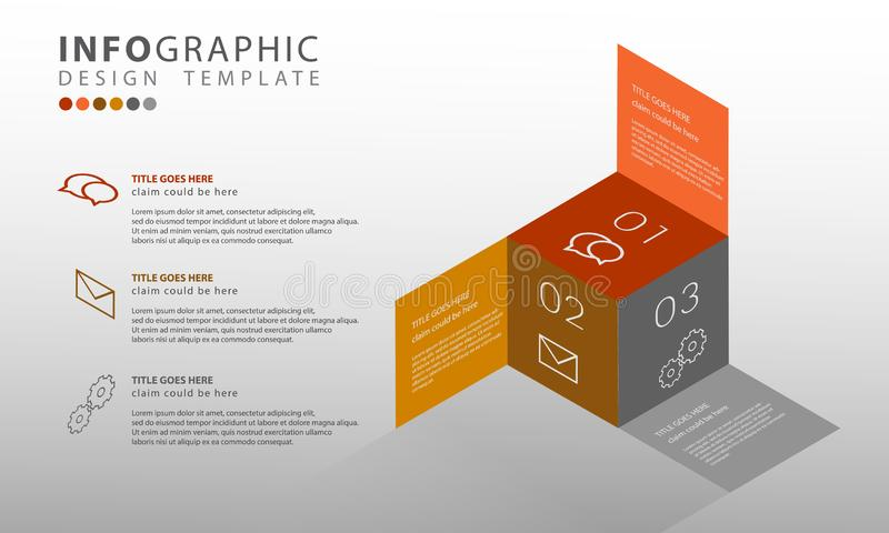Vetor infographic, molde abstrato do infographics da ilustração do negócio 3D com 3 opções para apresentações ilustração royalty free