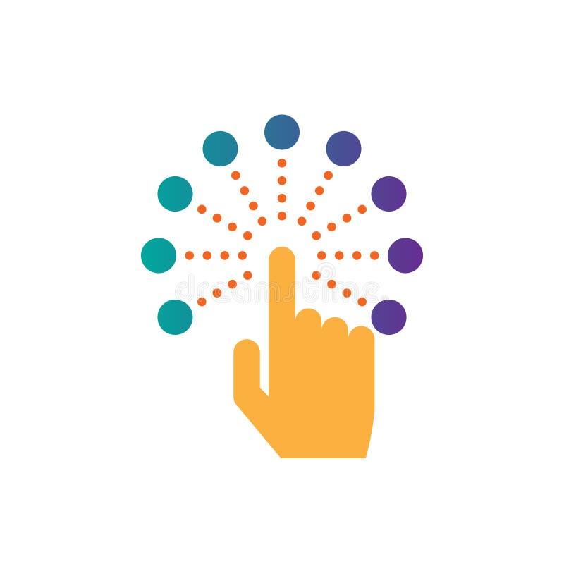Vetor interativo do ícone da relação do tela táctil, ilustração contínua do logotipo, pictograma isolado no branco ilustração royalty free