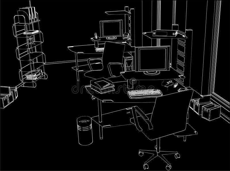 Vetor interior 01 do quarto do escritório ilustração stock