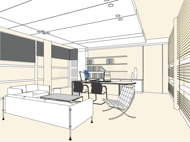 Vetor interior 03 do quarto do escritório ilustração royalty free