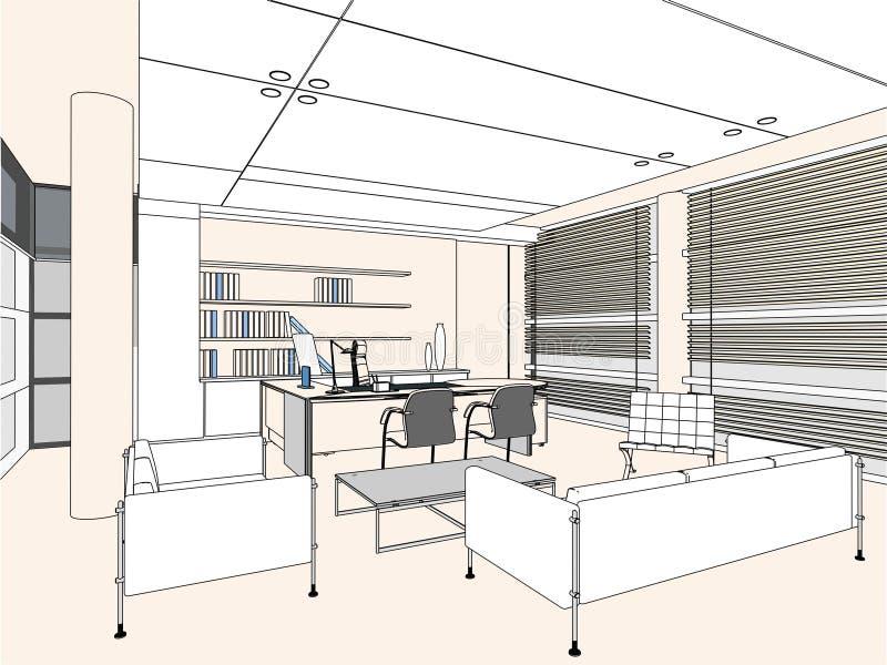 Vetor interior 04 do quarto do escritório ilustração do vetor