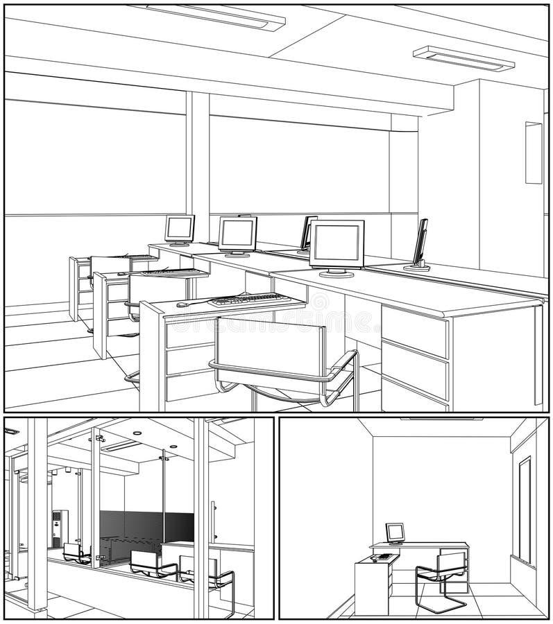 Vetor interior 07 dos quartos do escritório ilustração do vetor