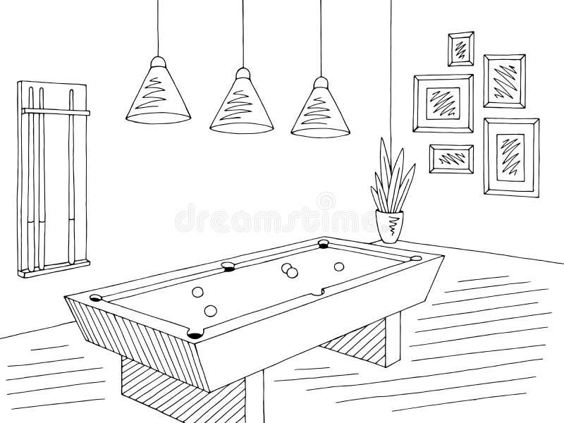 Vetor interior branco da ilustração do esboço do preto do gráfico da sala de bilhar ilustração do vetor