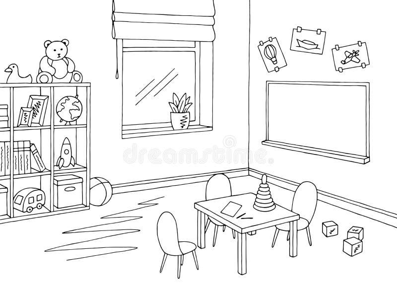 Vetor interior branco preto gráfico da ilustração do esboço da sala de aula pré-escolar ilustração royalty free