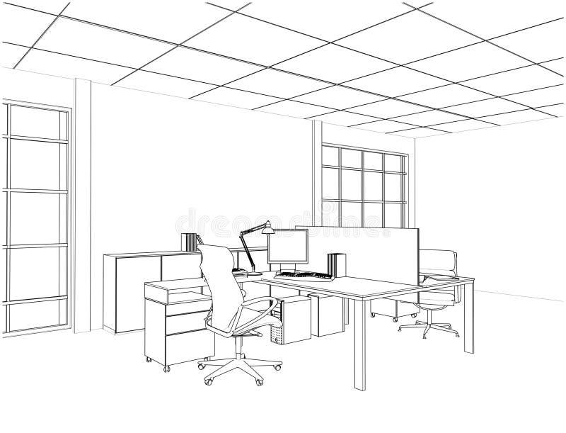 Vetor interior das salas do escritório ilustração royalty free