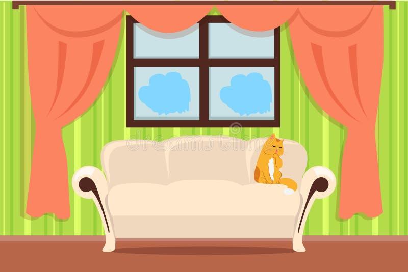 Vetor interior do conceito do apartamento no projeto liso ilustração royalty free
