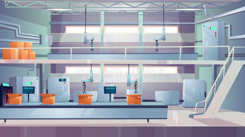 Vetor interior dos desenhos animados da planta de produção da indústria ilustração stock