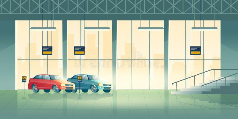 Vetor interior dos desenhos animados da sala de exposições do salão de beleza do concessionário automóvel ilustração royalty free