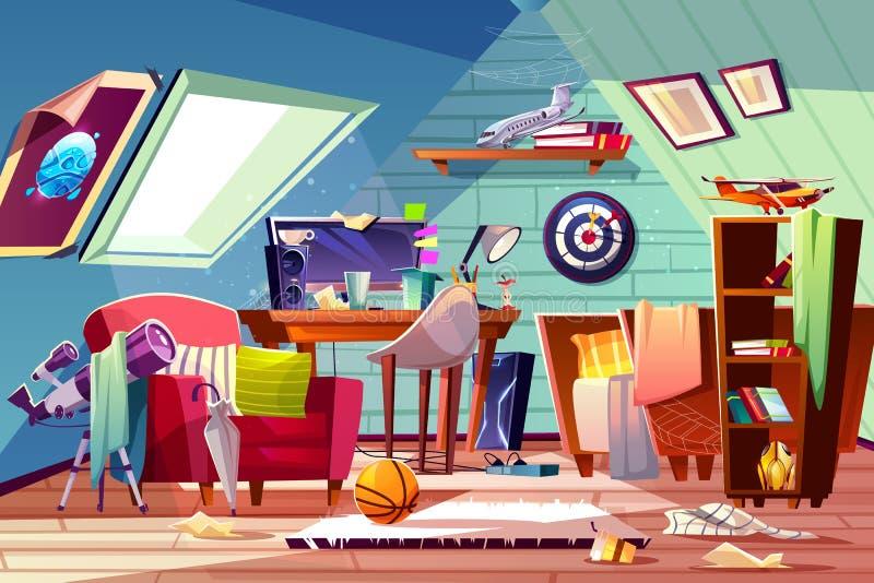Vetor interior dos desenhos animados da sala desarrumado adolescente do sótão do menino ilustração royalty free
