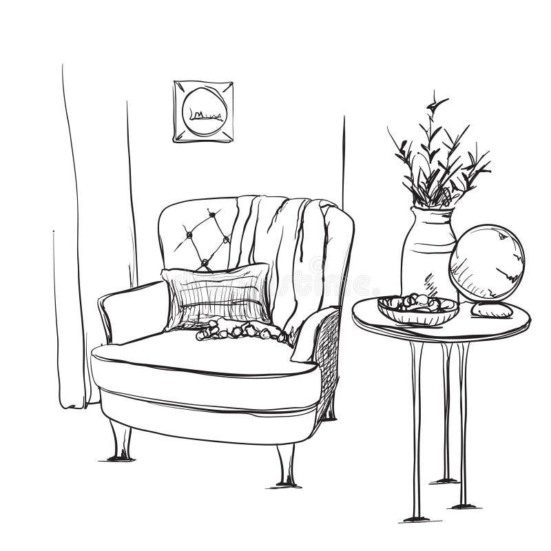 Vetor interior moderno do desenho da mão ilustração stock